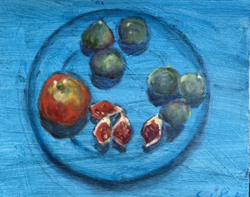 Apple and figs on blue